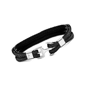 LOTUS Style Armband Herren LS2006-2/1 geflochten Anker Leder schwarz D2JLS2006-2-1