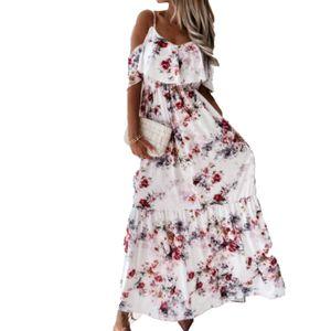 Bohemian Women Dress Low Cut Cold Shoulder Kurze Ärmel Blumendruck Maxikleid für Cocktail Blumenfarbe M