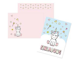 Friendly Fox Einladung Einhorn - 12 Einhorn Einladungskarten zum Kindergeburtstag Mädchen - rosa Einhorn Party - Mädchen Einladungskarte mit Umschlag