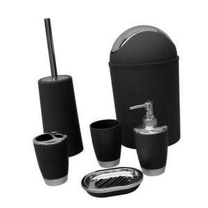 6pcs festes Luxusplastikbadezimmerzusätze stellten Waschklage schwarz ein wie beschrieben