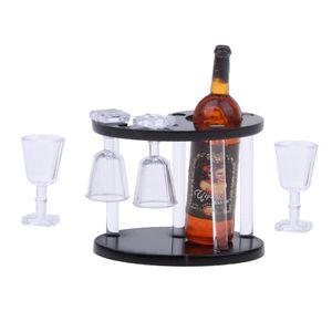 1 Stück Weinregal , 1 Stück Flasche , 4 Stück Glastasse ,
