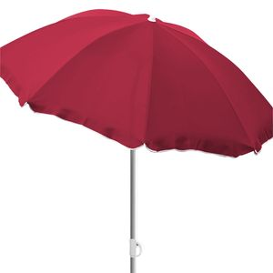 Sonnenschirm rund Ø2m rot Polyester knickbar UV Schutz