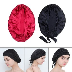 2 Stück Damen Seide Elastische Schlafmütze Nachtmütze Schlafhut Nachthaube Haarpflege Kopfbedeckungen, Rot und Schwarz