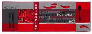 Küchenläufer 67 x 200 cm waschbar Chilli Rot-Grau Teppichläufer Küchenteppich Essen Küche