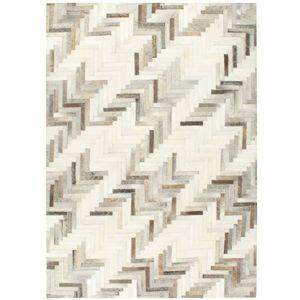 vidaXL Teppich Echtes Kuhfell Patchwork 120×170cm Grau/Weiß