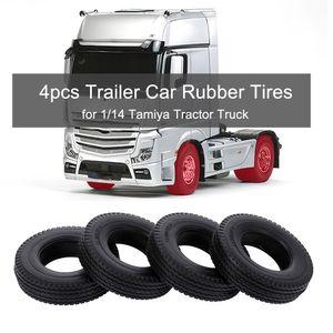 4pcs Trailer Car Rubber Reifen fuer 1/14 Tamiya Tractor Truck RC Climber Trailer