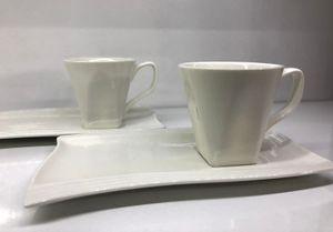 Ballamor 12tlg. Espressoservice Espresso Service Tassen Untertassen als Kuchenteller Weiß (AL-9782)