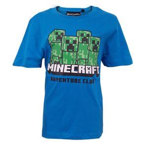 Minecraft Creeper Kinder T-Shirt Kurzarm Shirt Blau Gr. 146