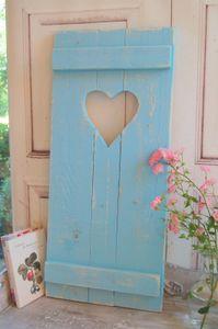 Landhaus Fensterladen BLEU mit Herz,Shabby antique chic Handgefertigt