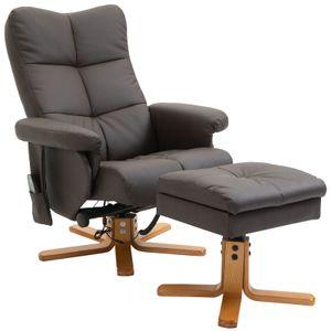 HOMCOM Massagesessel mit Fußhocker Relaxsessel Heizfunktion 145°-Neigung PolyurethanBraun 80 x 86 x 99 cm