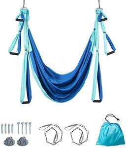 COSTWAY Aerial Yoga Hängematte, Yoga Schaukel, Air Fliegen Hängematte Set, Yogatuch mit Montagezubehör