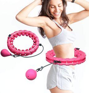 Hula Hoop, einstellbare breite Hula Hoop Fitness mit Massage Noppen für Kinder Erwachsene Anfänger mit Gymnastik Hoop für , Fitness, Massage,Pink