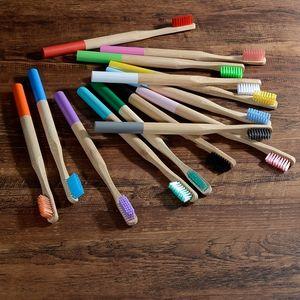 10pcs Bambus Zahnbürstenborsten bioabbaubaren Kunststoff freie Zahnbürste -(10X Farbmischung,)