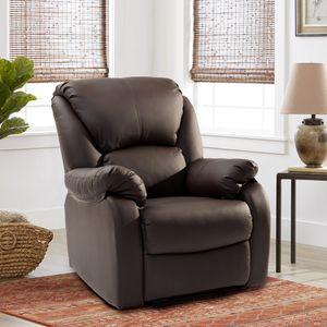 Merax Massagesessel Fernsehsessel verstellbar Relaxsessel Liegesessel aus Kunstleder mit Liegefunktion, Kinosessel Recliner Leder Sofa für Wohnzimmer, Braun