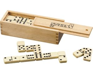Domino-Spiel in Holzbox