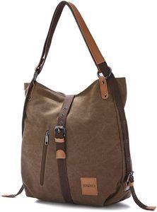 JOSEKO Canvas Tasche, Damen Rucksack Handtasche Vintage Umhängentasche Anti Diebstahl Hobotasche für Alltag Büro Schule Ausflug Einkauf Kaffee