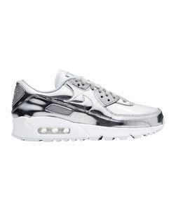 NIKE Air Max 90 Special Retro-Sneaker spacige Damen City-Schuhe mit Dämpfungssohle Silber, Größe:36