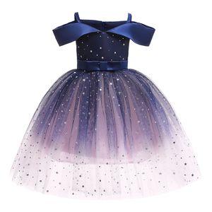 IEFIEL Mädchen Prinzessin Kleid Glänzend Tutu Kleid Schulterfrei Hochzeit Partykleid,Dunkle Marineblau,Gr.116-122