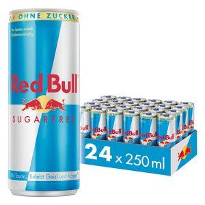 [6,00 € Pfand im Preis enthalten] Red Bull Energy Drink Sugarfree 24 x 250 ml Dosen Getränke, Zuckerfrei 24er Palette