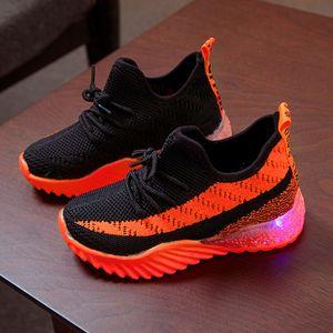 Kinder Kind Baby Mädchen Jungen Süßigkeiten Farbe Led Luminous Sport Run Sneakers Schuhe Größe:27,Farbe:Orange