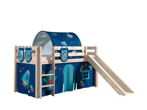"""Vipack Spielbett Pino inkl. Rutsche, Liegefläche 90x200 cm mit Textilset Vorhang, Tunnel und 3 Taschen """"Astro"""""""