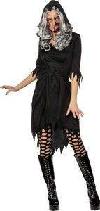 Damen Kostüm Kleid mit Kapuze Hexe Vamprin Zombie Halloween Gr.42/44