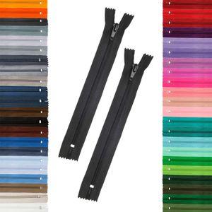 2 Reißverschlüsse 5mm spiral, 16cm, unteilbar, Autolock, Farbe frei wählbar, Farbe:580 schwarz