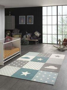 Kinderteppich mit Stern Wolke in Blau Grau Creme Größe - 80x150 cm