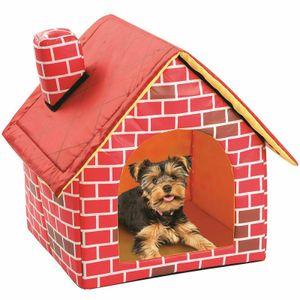 Hundehaus Hundehütte aus Stoff Sweet Home 39 x 40.5 x 44 cm Roter Ziegelstein