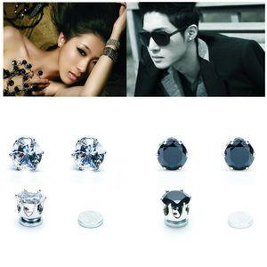 1 paar Weiß Schwarz Magnetische Magnet Ohr Stud Einfach Verwenden Kristall Stein Stud Ohrringe Für Frauen Männer Ohrringe Clip Auf kein Ohr Loch Geschenk