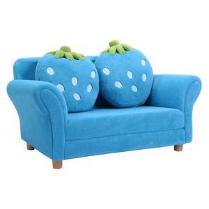 COSTWAY Kindersessel Sessel Sofa Kindercouch Babysessel Kindersofa Kinderm?bel 90x54,8x48cm Korallen-Samt mit 2 Kissen (Blau)