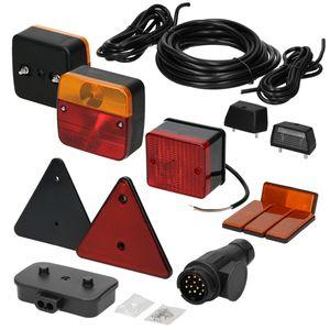 ECD Germany Anhänger Beleuchtung Set 16-teilig - 13-poliger Stecker - 5m Kabel - inkl. Leuchtmittel - mit E-Prüfzeichen - Rückleuchten Set für PKW Anhänger Beleuchtungsset Rücklicht Leuchten