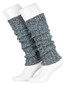Tobeni 1 Paar Damen-Stulpen Wolle Kuschelig Weich Multicolour Beinwärmer für Frauen Ideal für Sport und Winter, Farbe:Multicolour - Blau, Grösse:One Size