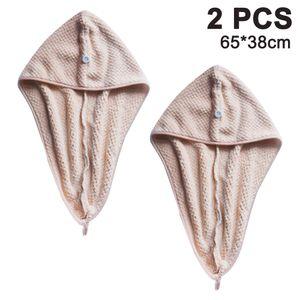 2 Ultra saugstarke Mikrofaser-Handtücher für die Haare, schnell trocknender Handtuch-Turban mit elastischer Schlaufe für alle Haartypen