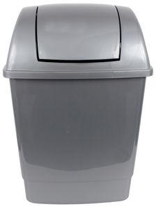 Mülleimer Schwingdeckel 26 Liter Abfalleimer Müllbehälter Schwingdeckeleimer Grau
