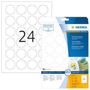 Etiketten A4 weiß Ø 40 mm rund Movables/ablösbar Papier matt 600 St.