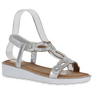 Mytrendshoe Damen Sandaletten Keilsandaletten Strass Cut-Outs Wedge Schuhe 834600, Farbe: Silber, Größe: 37