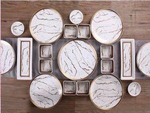 Zellerfeld 23tlg. Frühstücksset Servier-Set Servierschalen Dipschalen Porzellan Marble Design Weiß/Gold (TRM 1012)