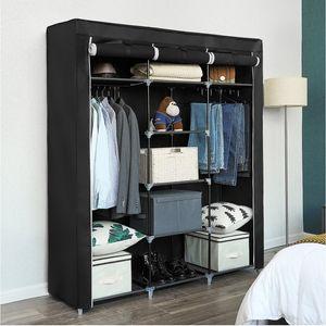 SONGMICS großer Kleiderschrank   XXL Stoffschrank mit 2 Stangen  175 x 150 x 45 cm   Faltschrank mit 3 hochrollbaren Türen   schwarz RYG12B