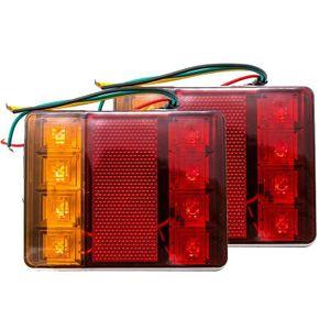 1 paar Wasserdichte Anhänger Lichter LED 12V Schwanz Bremse Hinten Licht Stoppen Blinker Anzeige Lampen