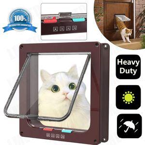 4 Wege Katzentür Katzenklappe Haustierklappe Eingangskontrolle Katze Klappe Braun