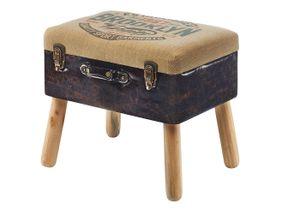 Kofferhocker Hocker Suitcase Polsterhocker Leinen Kunstleder Natur Braun