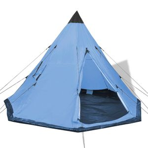 Huicheng Tipi Zelt 365 x 365 x 250 cm Indianerzelt Campingzelt 4 Personen Pyramidenzelt Blau, VD32239_DE