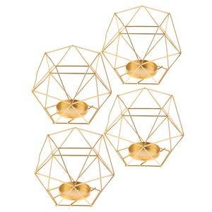 4er-Set Nordischer Draht Kerzenhalter Kerzenständer Teelichthalter Hochzeitsdekoration Goldene Europa