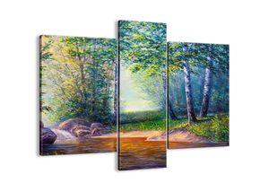 """Leinwandbild - 95x80 cm - """"Idyllische Landschaft""""- Wandbilder - Landschaft Fluss Wald - Arttor - CB95x80-4063"""