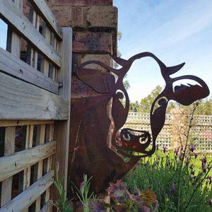 Metall Garten rechte Kühe Silhouetten Dekoration Baumstecker Metall Rost Tierfigur Gartendeko Tier Baumdeko