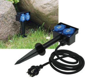 ChiliTec Gartensteckdose mit Erdspieß, 2-fach IP44, 10m Kabel