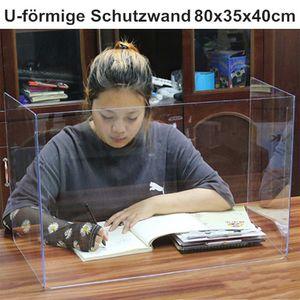 Miixia Faltbare Thekenaufsatz Schutzscheibe Spuckschutz Plexiglas U-förmige Schutzwand 80x35x40cm