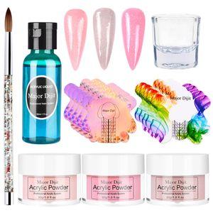Nagel-Acryl Pulver und flüssiges Set - 3 Farben klares rosa Weiß und ein flüssiges Monomer-Acryl-Nagelbürste Nail Art Powder -H02