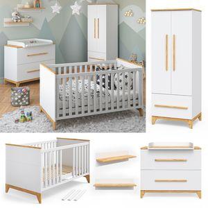 VITALISPA Babymöbel Set MALIA in weiß und Naturholz 5 Teile